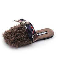 cheap Women's Slippers & Flip-Flops-Women's Shoes PU Leatherette Summer Comfort Sandals Flat Heel Open Toe Bowknot For Casual Outdoor Black Green Camel