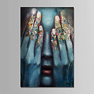 cheap Oil Paintings-Hand-Painted People Vertical, Comtemporary Simple Modern Canvas Oil Painting Home Decoration One Panel