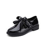 cheap Women's Oxfords-Women's Shoes Patent Leather Spring Comfort Oxfords Flat Heel for Casual Black Burgundy