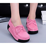 cheap Women's Slip-Ons & Loafers-Women's Shoes Nubuck leather Spring Fall Comfort Loafers & Slip-Ons Creepers for Casual Black Gray Fuchsia Blue Pink