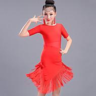 latin dance kjoler børns præstationer spandex kvast (er) halv ærme høj kjole ved skal vi