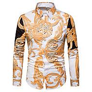 Spredt krave Tynd Herre - Blomstret Trykt mønster Skjorte