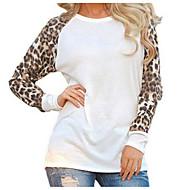 Damen Leopard - Street Schick Ausgehen Übergrössen Bluse Patchwork Schwarz XXXL
