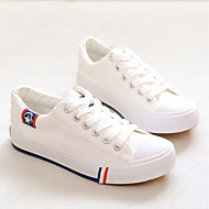 cheap Women's Sneakers-Women's Shoes Canvas Spring Fall Comfort Sneakers Flat Heel Round Toe for Casual White Black Red