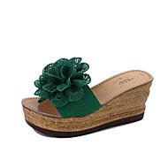 baratos Rasteirinhas e Chinelos Femininos-Mulheres Sapatos Couro Ecológico Verão Conforto Chinelos e flip-flops Caminhada Sem Salto Dedo Aberto para Branco / Verde Claro