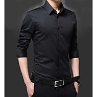 Homens Camisa Social Diário Simples Todas as Estações, Sólido Poliéster Colarinho de Camisa Manga Longa