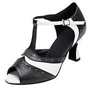 baratos Sapatilhas de Dança-Sapatos de Dança Latina Couro Sintético Sandália / Salto Salto Personalizado Personalizável Sapatos de Dança Preto / Branco