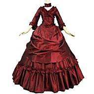 Victoriansk Rokoko Kostume Dame Voksne Dragter Rød Vintage Cosplay Flok Rimelig 3/4-ærmer Børsteslæb