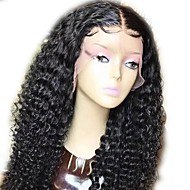 cheap Human Hair Wigs-Human Hair Indian Lace Wig Wavy Curly Glueless Full Lace With Baby Hair Unprocessed Natural Hairline 130% Density Black Medium Long