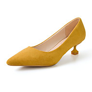 cheap Women's Heels-Women's Shoes PU Spring Summer Heels Chunky Heel Pointed Toe for Casual White Black Yellow Pink