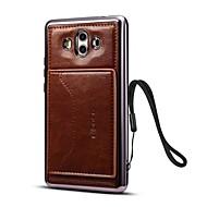 billiga Mobil cases & Skärmskydd-fodral Till Xiaomi Mate 10 Korthållare med stativ Skal Ensfärgat Hårt PU läder för Mate 10
