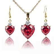 Women's Jewelry Set Gold Plated Fashion Include Necklace Red For Wedding Gift
