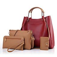 女性用 バッグ PU バッグセット 4個の財布セット ジッパー ミリタリーグリーン / ベージュ / ワイン