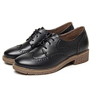 cheap Women's Oxfords-Women's Shoes Leather Spring Summer Comfort Oxfords Chunky Heel Round Toe for Casual Outdoor White Black Brown Blue Wine