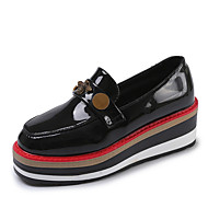 cheap Women's Slip-Ons & Loafers-Women's Shoes PU Fall Comfort Loafers & Slip-Ons Flat Heel Round Toe for Casual Office & Career Black