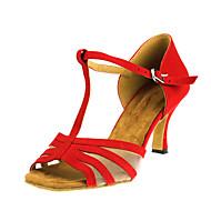 baratos Sapatilhas de Dança-Mulheres Sapatos de Dança Latina Flocagem / Camursa Sintética Sandália Salto Cubano Personalizável Sapatos de Dança Vermelho