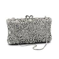 baratos Clutches & Bolsas de Noite-Mulheres Bolsas vidro / Metal Bolsa de Festa Detalhes em Cristal Prata