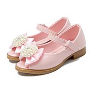 お買い得  フラワーガールシューズ-女の子 靴 PUレザー 春 / 夏 アイデア / フラワーガールシューズ フラット リボン / ビーズ / 面ファスナー のために ホワイト / ピンク / オープントゥ / ピープトウ / パーティー