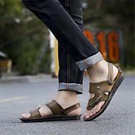 お買い得  メンズサンダル-男性用 靴 PUレザー 夏 コンフォートシューズ サンダル カーキ色