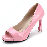 Žene Cipele PU Proljeće Udobne cipele Cipele na petu Hodanje Stiletto potpetica Peep Toe za Kauzalni Crn Svjetlo ljubičasta Pink
