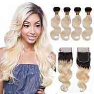 お買い得  人毛つけ毛-4 個 ブラック/ブリーチブロンド ウェーブ ブラジリアンヘア 人間の髪織り ヘアエクステンション 0.4kg