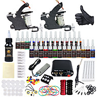 billige Tatoveringssett for nybegynnere-Tattoo Machine Startkit - 2 pcs tattoo maskiner med 28 x 5 ml tatovering blekk, Profesjonell Mini strømforsyning No case 2 x legering tatovering maskin for fôr og skyggelegging
