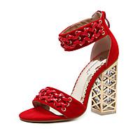tanie Obuwie damskie-Damskie Obuwie Derma Wiosna Lato Modne obuwie Comfort Zabawne Sandały Kryształowy obcas na Ślub Casual Black Czerwony