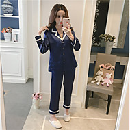 Dame Jakkesæt Pyjamas - Trykt mønster, Farveblok