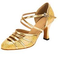 billige Moderne sko-Moderne Glitter Fuskelær Sandaler Høye hæler Kustomisert hæl Gull Kan spesialtilpasses