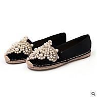 cheap Women's Flats-Women's Shoes Canvas Summer Comfort Flats Flat Heel Closed Toe for Casual Outdoor Black Almond