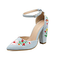 cheap Women's Heels-Women's Shoes Canvas Spring Summer Mary Jane Heels Chunky Heel Pointed Toe Buckle for Casual Party & Evening Blue Almond