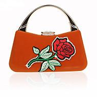 baratos Bolsas Tote-Mulheres Bolsas Veludo Tote Apliques Floral / Botânico Vermelho / Amêndoa / Fúcsia