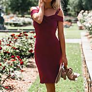 Damer Vintage Daglig Bodycon Skede Kjole Ensfarvet,Med stropper Mini Over knæet Uden ærmer Nylon Forår Efterår Alm. taljede Mikroelastisk