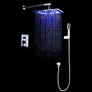 billige Rabatt Kraner-Dusjkran - Moderne Stil LED Moderne / Nutidig Krom Vægmonteret Keramisk Ventil