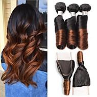 お買い得  人毛つけ毛-4 個 ブラック/ミディアムBrowm カール ペルービアンヘア 人間の髪織り ヘアエクステンション 0.4kg