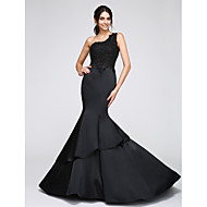Sirena kroj Na jedno rame Dugi šlep Saten Formalna večer Haljina s Aplikacije po TS Couture®