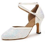 billige Moderne sko-Moderne Paljett Fuskelær Sandaler Høye hæler Sløyfer Kustomisert hæl Hvit Kan spesialtilpasses
