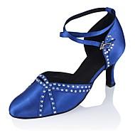 billige Kustomiserte dansesko-Dame Moderne sko Sateng Sandaler / Høye hæler Kustomisert hæl Kan spesialtilpasses Dansesko Svart / Blå / Profesjonell
