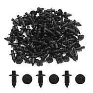 100 stk. Universel 7 mm dia sort plast sprøjtespærre push-type mat clips