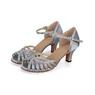 baratos Sapatilhas de Dança-Sapatos de Dança Latina Seda Sandália / Salto Diamante Acrilico Salto Carretel Personalizável Sapatos de Dança Preto / Cinzento / Marron