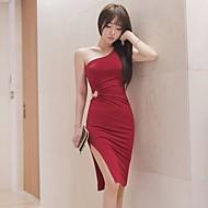Dame I-byen-tøj Vintage Bodycon Midi Kjole,Ensfarvet Etskuldret Uden ærmer Bomuld Forår