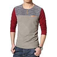 Rund hals Farveblok Bomuld, Patchwork T-shirt