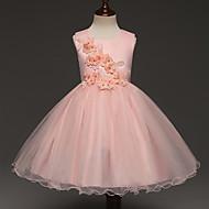 Djevojka je Pamuk Poliester Jednobojni Proljeće Ljeto Bez rukávů Haljina Slatko Obala Blushing Pink