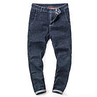 Homens Tamanhos Grandes Vintage Moda de Rua Cintura Média Micro-Elástica Reto Jeans Calças, Algodão Primavera/Outono Estações Cruzadas