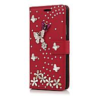 Etui Til Apple iPhone X / iPhone 8 Plus Kortholder / Rhinstein / med stativ Heldekkende etui Blomsternål i krystall Hard PU Leather til iPhone X / iPhone 8 Plus / iPhone 8