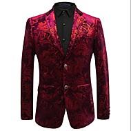 Men's Party / Daily / Work Vintage / Sophisticated Spring / Winter Plus Size Regular Blazer, Print Shirt Collar Long Sleeve Acrylic / Polyester / Nylon Red XXL / XXXL / 4XL