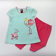Djevojčice Pamuk Print Životinjski uzorak Ljeto Kratkih rukava Komplet odjeće Slatko Aktivan Blushing Pink Svijetlo zelena