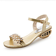 cheap Women's Sandals-Women's Shoes PU Spring / Summer Slingback / Comfort Sandals Wedge Heel Peep Toe Stitching Lace / Split Joint / Braided Strap for Gold /