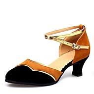 billige Moderne sko-Dame Moderne sko Fløyel Sandaler Tykk hæl Kan spesialtilpasses Dansesko Brun / Rød