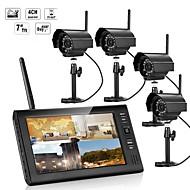 7インチtftデジタル2.4gワイヤレスカメラオーディオビデオベビーモニター4chクワッドdvrセキュリティシステムと夜間照明4台のカメラ